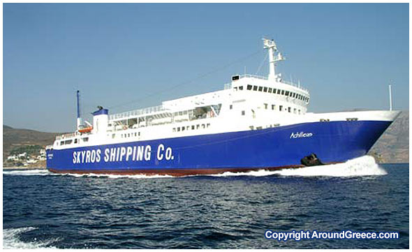 Ferry boat of skyros sciox Images